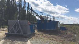 A drill at Monarch Gold's McKenzie Break gold project in Quebec. Credit: Monarch Gold.