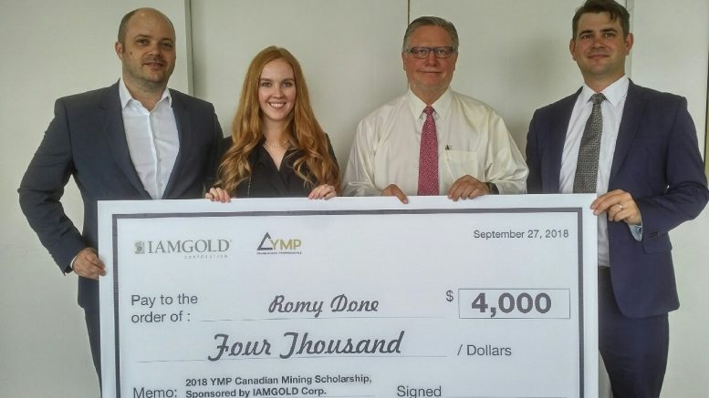 Iamgold donating $4,000 to the Young Mining Proffessionals (YMP) Canadian Mining Scholarship in September 2018, from left: Stephen Stewart, director of YMP Toronto and president and CEO of Orefinders Resources; scholarship award winner Romy Done (who now works at Iamgold); Steve Letwin, president and CEO of Iamgold; Anthony Moreau, business development and innovation manager at Iamgold. Credit: Young Mining Professionals.