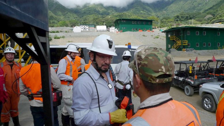Continental Gold CEO Ari Sussman (centre) at the Buritica gold project in Antioquia, Colombia. Photo by David Perri.
