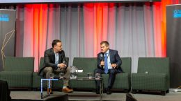 The Northern Miner publisher Anthony Vaccaro (left) in conversation with Kirkland Lake Gold president and CEO Tony Makuch at the Progressive Mine Forum in October 2019. Credit: George Matthew Photography.