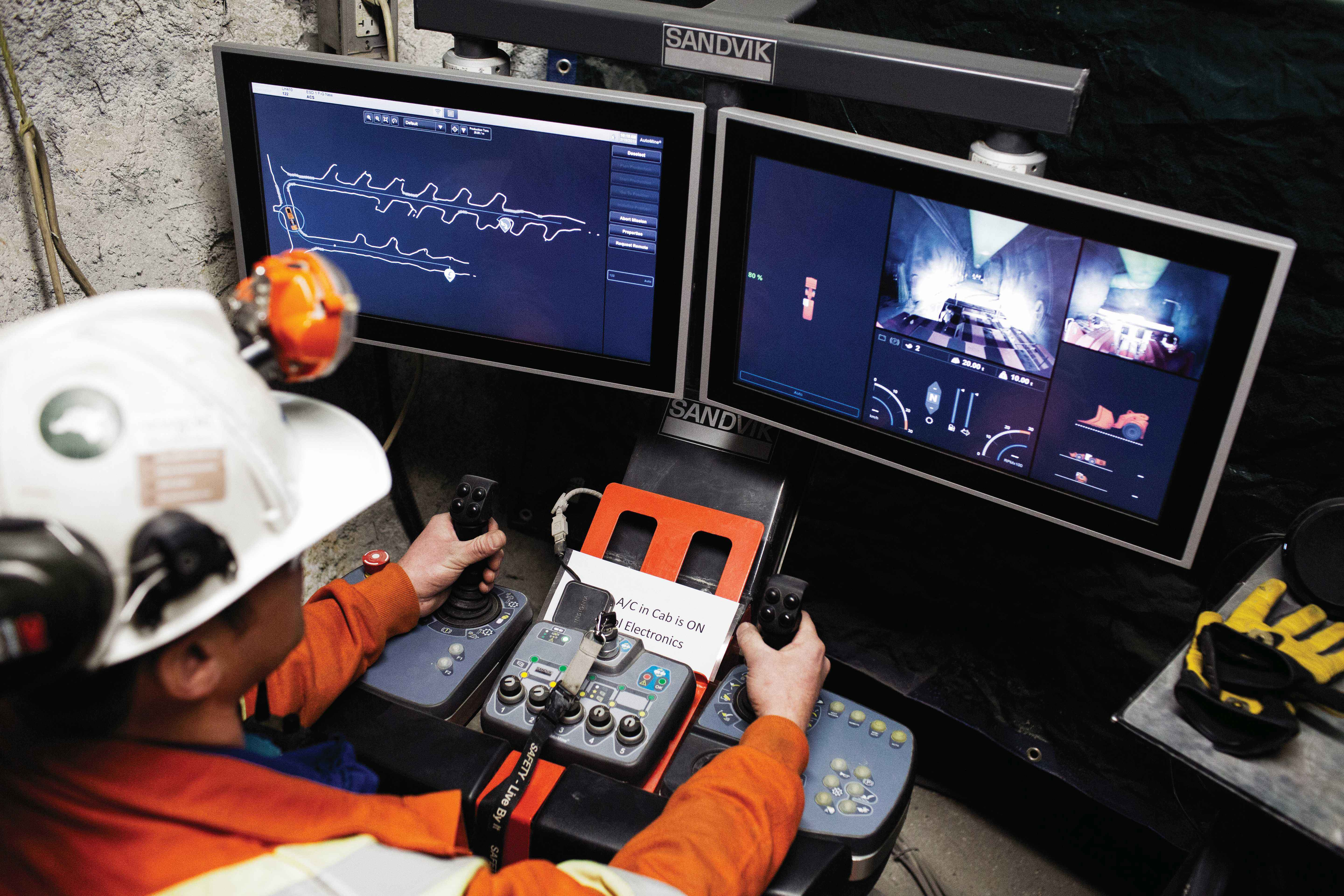 An operator using Sandvik's AutoMine system to drive an LH410 in the New Afton mine. Credit: Sandvik.