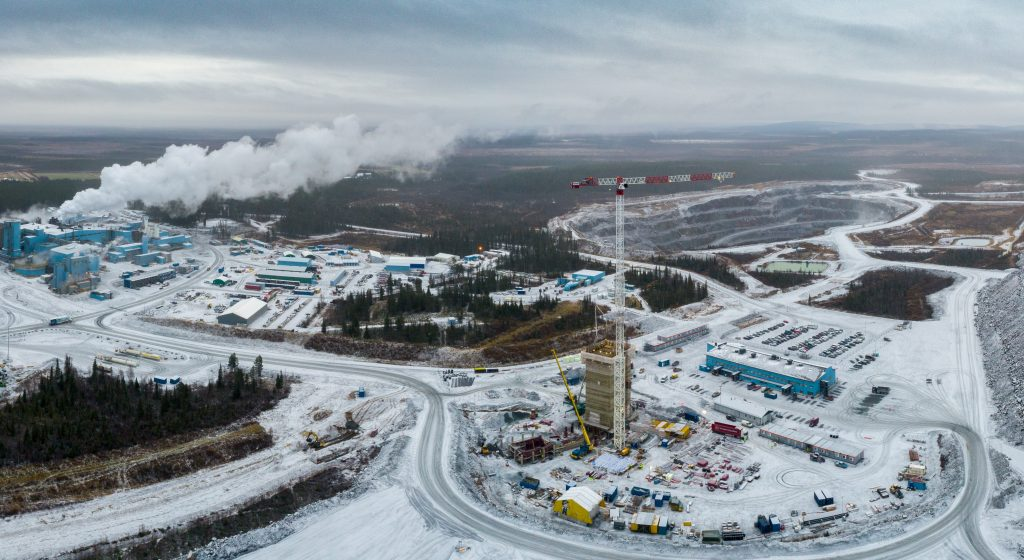 A headframe under construction at Agnico Eagle Mines' Kittila mine in northern Finland in October 2019. Credit: Agnico Eagle Mines.