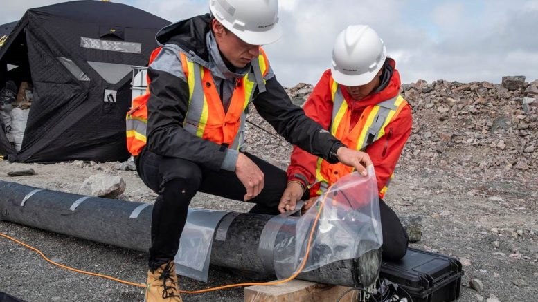 University of British Columbia researchers measuring the rate of carbon sequestration within processed kimberlite in 2019 at the Gahcho Kué diamond mine in the Northwest Territories. Credit: De Beers Group.