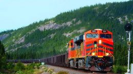 Iron ore concentrate produced at the Mont-Wright mine in Quebec is transported by a 420-km railroad with 20 bridges and five tunnels. Image courtesy of ArcelorMittal Infrastructure Canada